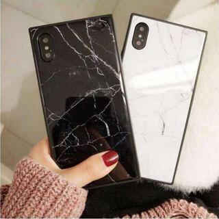 iphoneケース マーブル スクエア 大理石 XR 7/8/SE2 カバー11(iPhoneケース)