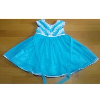 コストコ(コストコ)のキッズ ドレス 110 ターコイズ 花レース 結婚式 パーティー お姫様ごっこ(ドレス/フォーマル)