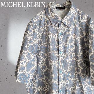 ミッシェルクラン(MICHEL KLEIN)のミッシェルクラン ペイズリー柄 半袖 プルオーバーシャツ シャツ ブルー(シャツ)