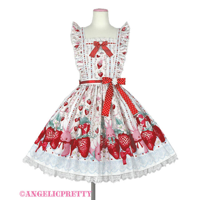 Angelic Pretty(アンジェリックプリティー)のangelic pretty Strawberry エプロン風スカート シロ レディースのスカート(ひざ丈スカート)の商品写真