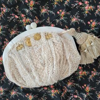 アッシュペーフランス(H.P.FRANCE)のウサギプゥトワ別注/wild rose hipsヴィンテージ生地のクラッチバッグ(クラッチバッグ)