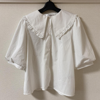 シマムラ(しまむら)のしまむら 白 ホワイト 襟 五分袖ブラウス トップス Lサイズ(シャツ/ブラウス(半袖/袖なし))