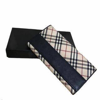 BURBERRY - バーバリー Burberry 二つ折り 財布 がま口 ノバ チェック レザー
