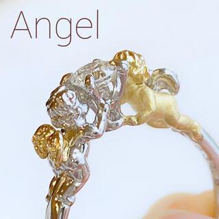 2人の天使が向かい合う可愛いダイヤモンドリング pt K18