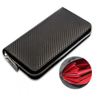 メンズカーボン長財布 ブラック×レッド おしゃれカラー ラウンドファスナー(長財布)