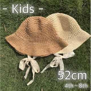 ベビー キッズ 麦わら帽子 ブラウン ベビー帽子 52cm 韓国 子ども服 夏