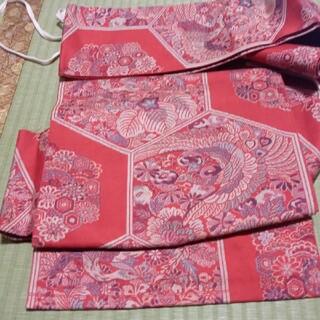 赤地に鳥や花模様の付け帯 アンティーク 作り帯(帯)
