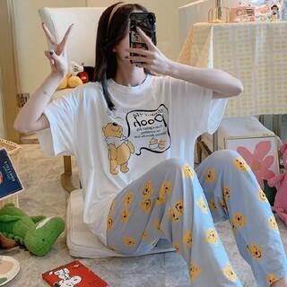 プーさんパジャマルームウェア上下2点セット夏服 パジャマ半袖 寝間着