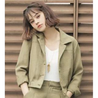 スパイラルガール(SPIRAL GIRL)の人気完売商品 SPIRAL GIRL リネンタッチショートジャケット(ミリタリージャケット)