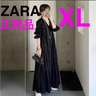 ザラ(ZARA)のZARA  正規品 新品 パフスリーブ付きポプリンワンピース vネックワンピース(ロングワンピース/マキシワンピース)