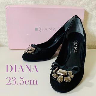 ダイアナ(DIANA)のDIANA ダイアナ リボン ビジュー 付き パンプス 23.5cm 黒(ハイヒール/パンプス)