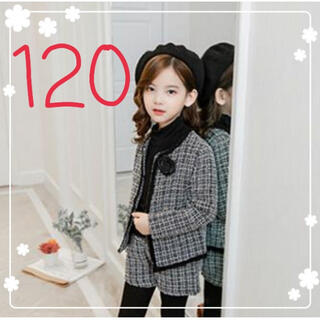 ☆限界価格☆ジャケット ショートパンツ ツイード柄 長袖 女の子用 120(その他)