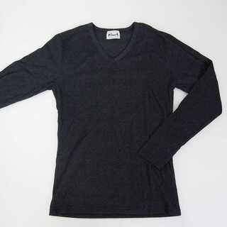 【新品】Vネック 長袖 ダークグレー 無地 L (T34)(Tシャツ/カットソー(七分/長袖))