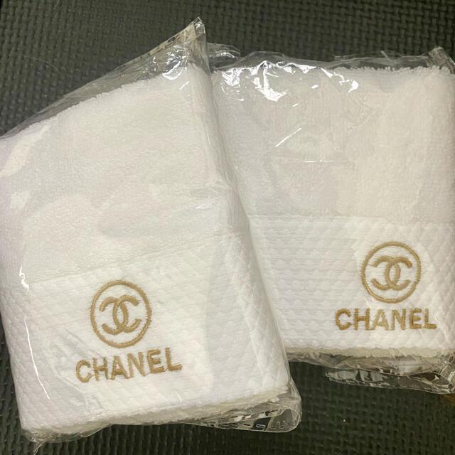 CHANEL(シャネル)のシャネル ノベルティ非売品 フェイスタオル2枚セット インテリア/住まい/日用品の日用品/生活雑貨/旅行(タオル/バス用品)の商品写真