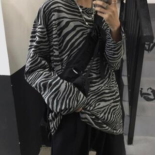黒 ゼブラ柄 シャツ カジュアル おしゃれ モード系 長袖 ビッグシルエット 春(Tシャツ/カットソー(七分/長袖))