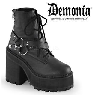 YOSUKE - 【新品】Demonia デモニア 超厚底 スタッズ ベルト ショートブーツ 黒