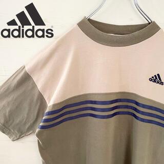アディダス(adidas)のadidas アディダス tシャツ ボーダー カーキ 古着 90s 刺繍ロゴ(Tシャツ/カットソー(半袖/袖なし))