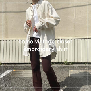 Santa Monica - 90s 古着 刺繍ロゴ オーバーシャツ 白シャツ ユニセックス ビンテージ