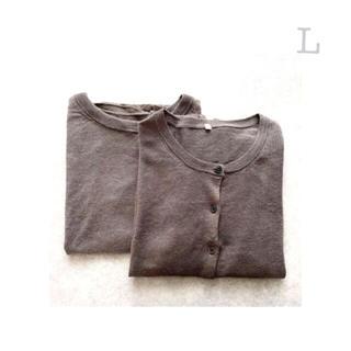 ムジルシリョウヒン(MUJI (無印良品))の無印良品   UVカットフレンチリネンスリーブレスセ-タ-&カ-ディガン  L(ニット/セーター)