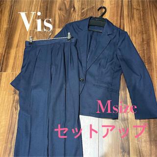 ViS - セットアップ パンツスーツ ウォッシャブル ネイビー