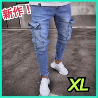 大人気 カーゴパンツ ワークパンツ メンズ スキニーズボン 作業着 XL デニム(デニム/ジーンズ)
