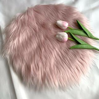 ラウンドフェイクファーラグマット ピンク