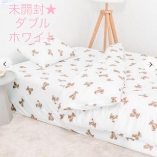 ジェラートピケ(gelato pique)の大人気 ジェラートピケ【Sleep】ダブル ベアモチーフ3点セット ホワイト(シーツ/カバー)