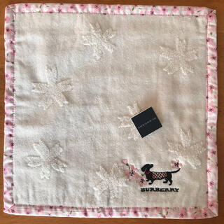 BURBERRY - 【新品未使用】BURBERRY バーバリー タオルハンカチ イヌ刺繍