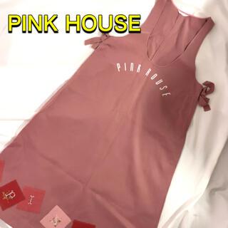 ピンクハウス(PINK HOUSE)の古着 ピンクハウスジャンパースカートワッペンロゴくすみピンクふるじょパッチワーク(その他)