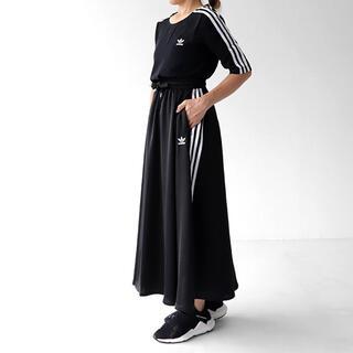 アディダス(adidas)の新品同様アディダス3本ライン ロングフレアスカート (ロングスカート)
