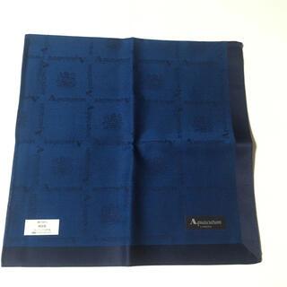 アクアスキュータム(AQUA SCUTUM)のAquascutum アクアスキュータム 紺色 コットンハンカチ(ハンカチ/ポケットチーフ)