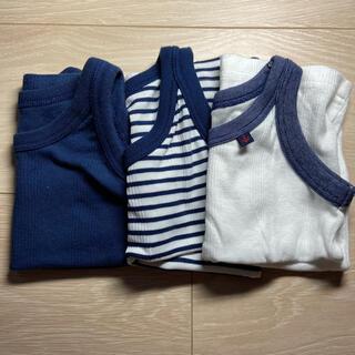 ニシマツヤ(西松屋)のタンクトップ 80 ブルー ホワイト ボーダー 男の子(タンクトップ/キャミソール)