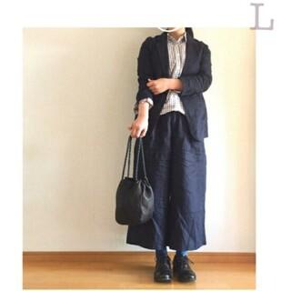 MUJI (無印良品) - ★新品★ 無印良品フレンチリネンワイドパンツ/ダークネイビー/L