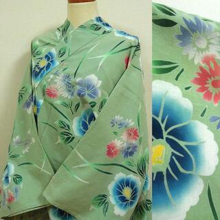 浅緑色に草花 注染浴衣(浴衣)