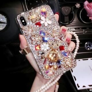 iPhoneXS 超豪華 真珠ショルダー付き キラキラ デコ電 宝石クマ(iPhoneケース)