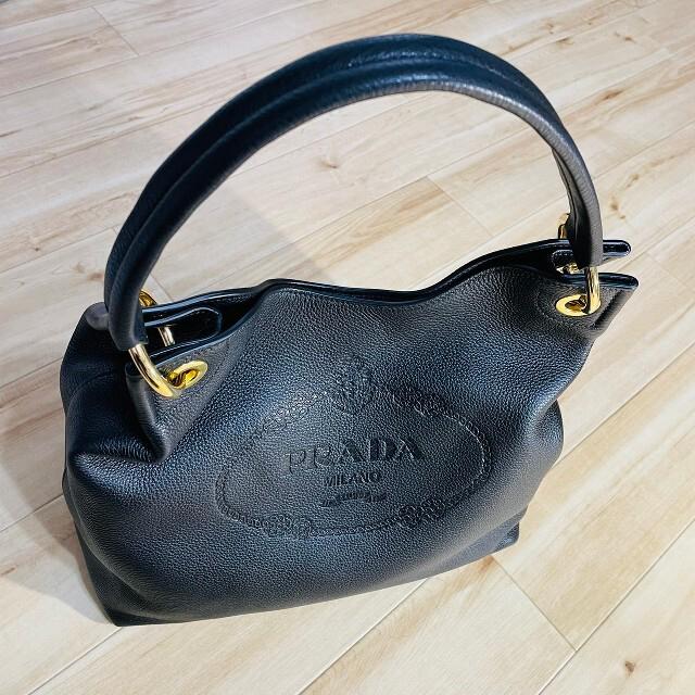 PRADA(プラダ)の新品 PRADA プラダ ハンドバッグ トートバッグ ソフトレザー 黒 レディースのバッグ(ハンドバッグ)の商品写真
