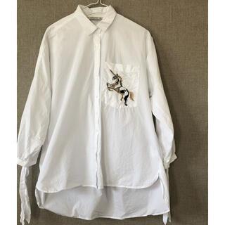 ZARA - 白ワイド綿シャツ