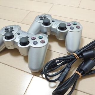 プレイステーション3(PlayStation3)のUSB付属・SONY PS3コントローラー・シルバー2個セット(家庭用ゲーム機本体)