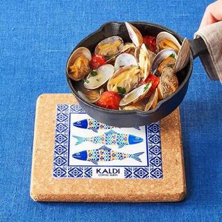 カルディ(KALDI)のKALDI オリジナルスキレット & コルク鍋敷 2点セット 新品未使用(鍋/フライパン)