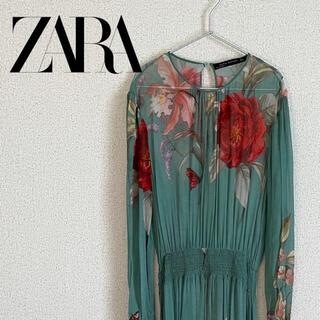 ZARA - ZARA ザラ 花柄 ワンピース グリーン シフォン ボタニカル
