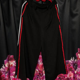サイドライン ワイドパンツ  スリットパンツ赤白radyブラック黒(バギーパンツ)