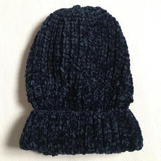 ローズバッド(ROSE BUD)のローズバッド ネイビーニット帽 未使用品(ニット帽/ビーニー)