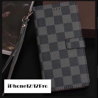 チェック柄 手帳型 iPhoneケース iPhone12/12Pro ブラック(iPhoneケース)