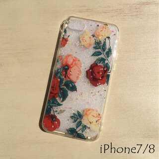 花柄 iPhone ケース iPhoneカバー 透明 クリア レッド 7/8(iPhoneケース)