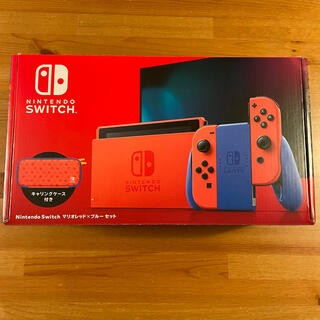 ニンテンドースイッチ(Nintendo Switch)の【美品】Nintendo Switch 本体 マリオレッド×ブルー 店舗印あり(家庭用ゲーム機本体)