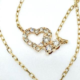 K18 リバーシブル ダイヤのハートネックレス(ネックレス)