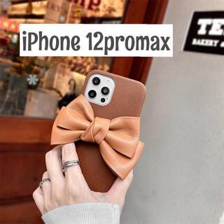 アイフォーン(iPhone)の12promax iPhoneケーススマホケース リボン レザー 韓国(iPhoneケース)