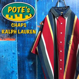 Ralph Lauren - 【チャップスラルフローレン】ポケット刺繍ロゴ半袖ボールドマルチストライプシャツ