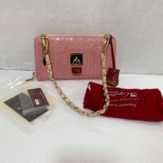 良品 日本製JRA レザージュエルズ クロコダイル バッグ 財布 マット ピンク