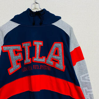 フィラ(FILA)の一点物 90年代ビンテージ フィラ(FILA) 切り替え デカロゴ パーカー(パーカー)